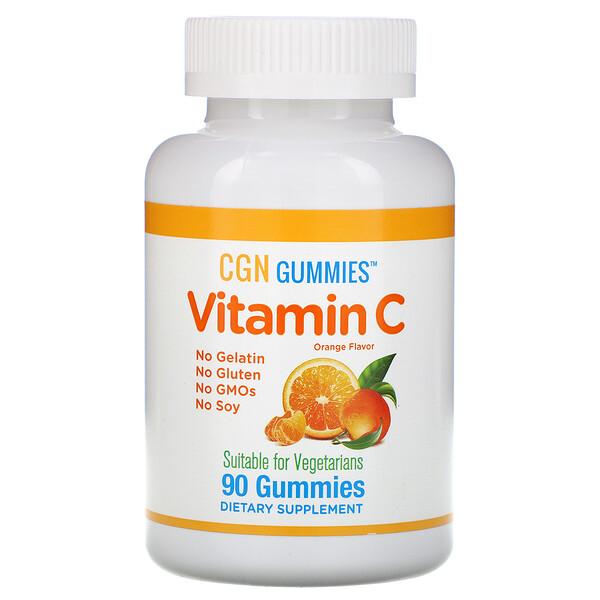California Gold Nutrition, Жевательные таблетки с витаминомC, натуральный апельсиновый вкус, без желатина, 90жевательных таблеток