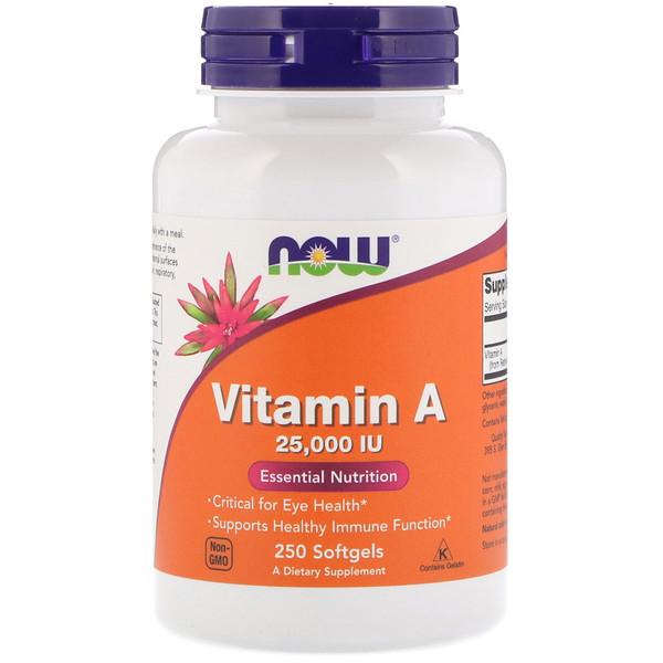 Now Foods, Витамин A, 25 000 МЕ, 250 мягких таблеток