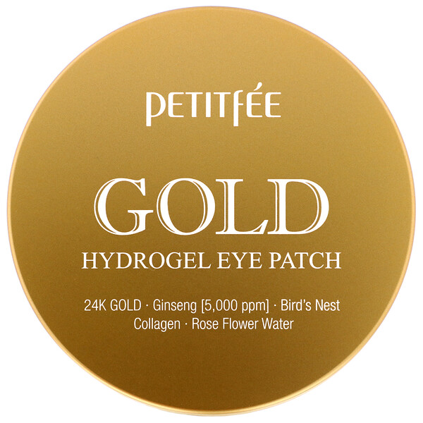 Petitfee, Гидрогелевые патчи для глаз, золото, 60шт.