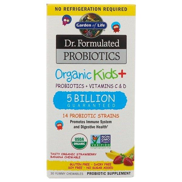 Garden of Life, Dr Formulated Probiotics, Organic Kids+, органические пробиотики для детей, со вкусом органической клубники и банана, 30вкусных жевательных таблеток