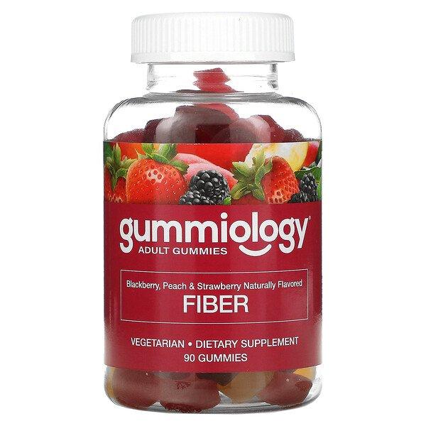 Gummiology, жевательная клетчатка, со вкусом натурального персика, клубники и ежевики, 90жевательных таблеток