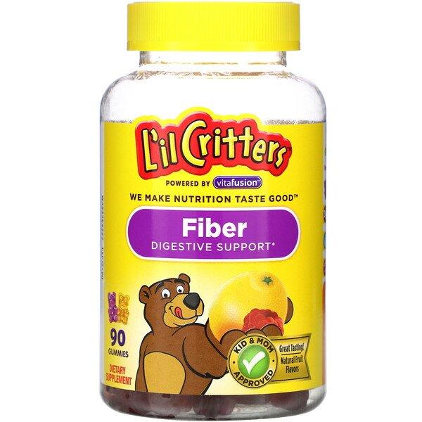 L'il Critters, клетчатка для поддержки пищеварения, со вкусом натуральных фруктов, 90жевательных мармеладок